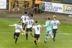 The Vale players celebrate a dramatic late equaliser