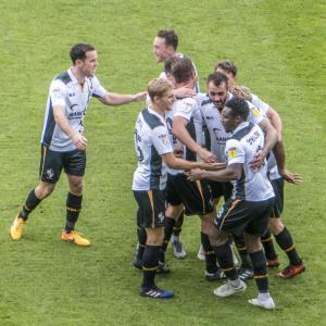 Port Vale players celebrate the second goal (Port Vale v Northampton Sept 15 2018)